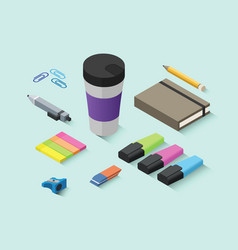 set of isometric office items stationery icons vector image