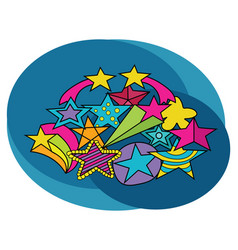 Stars design set cartoon free hand draw doodle vector