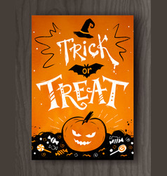 Trick or treat halloween postcard design vector