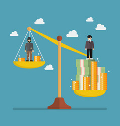 weight scale between rich man and poor man vector image vector image