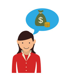 Woman with dialog callout box with bag money vector
