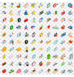 100 money icons set isometric 3d style vector