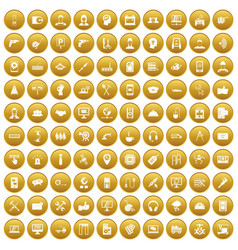 100 support icons set gold vector