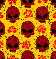 Flower skull seamless pattern in grunge style vector image