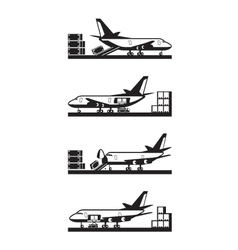Different types of loading cargo airplane vector image