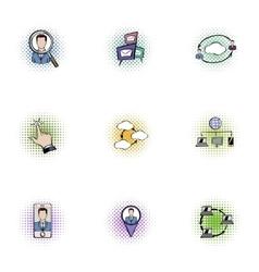 Data cloud icons set pop-art style vector