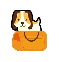 Puppy little pet domestic yellow pet carrier vector