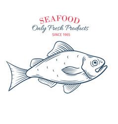 Hand drawn fish icon vector