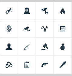 Set of simple fault icons vector