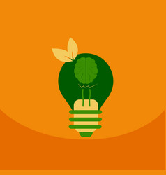 light save planet on ecology style lamp with brain vector image