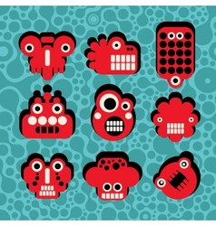 Cartoon robots and monsters faces vector image