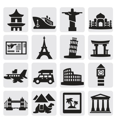 Travel and landmarks set vector