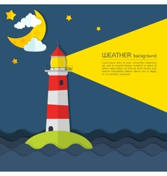 Modern weather background with lighthouse moon and vector