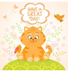 Kitten and birds vector