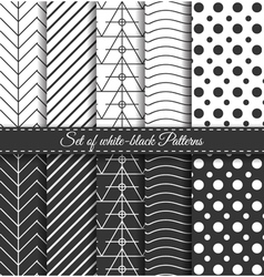 Set of black white pattern3 vector