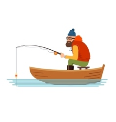Fisherman in a boat on the white background vector