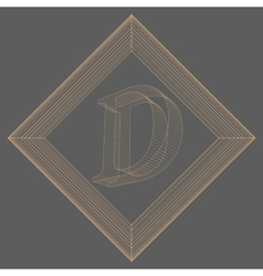 Letter d fonts of mesh vector
