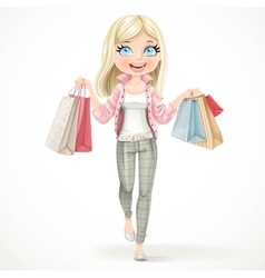 Cute blond shopaholic girl goes with paper bags in vector