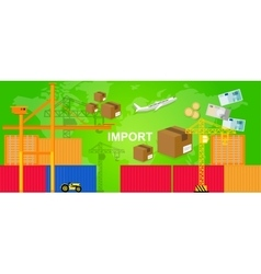 Imports trading transportation logistic harbor vector