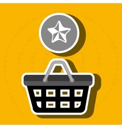 Red basket and star isolated icon design vector