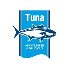 Atlantic bluefin tuna fish icon for seafood design vector