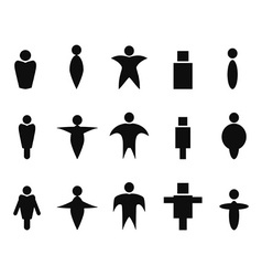 black abstract people icons symbol vector image