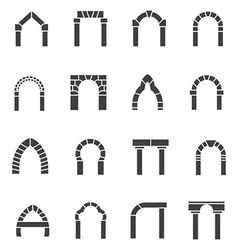 Black icons collection of arches vector