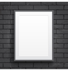 Blank paper poster with frame on brick wall vector image vector image