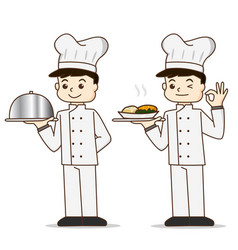 Cartoon cook chef character holding food vector