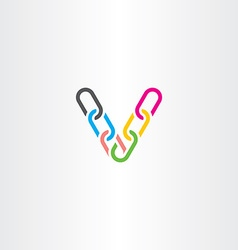 Colorful v letter v chain link logo icon vector