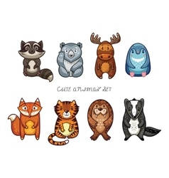 Cute animal set with cartoon characters vector