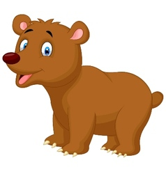 Cute brown bear cartoon vector image