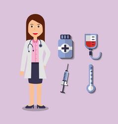 doctor female bottle medicine syringe thermometer vector image