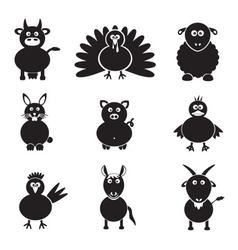Farm animals simple icons set eps10 vector