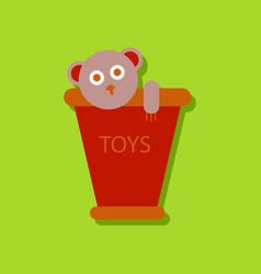 Flat icon design teddy bear in bucket in sticker vector