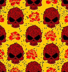 Flower skull seamless pattern in grunge style vector
