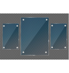 glass plates set glass banners on transparent vector image