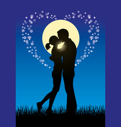 Lovers kissing couple silhouette vector