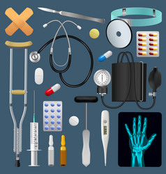 Medical equipment tools and drugs set medicine vector