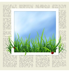 newspaper with grass vector image