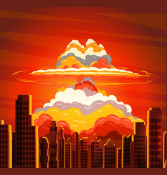 Nuclear explosion radioactive cloud on city vector