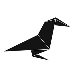 origami raven icon simple black style vector image