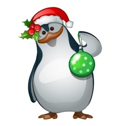 Penguin Santa closeup with Christmas toy vector image vector image