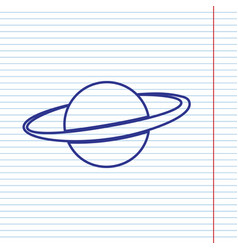 Planet in space sign navy line icon on vector