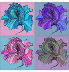 print of four graphic flowers with vector image vector image