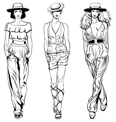 set fashion top models in trouser suits vector image vector image