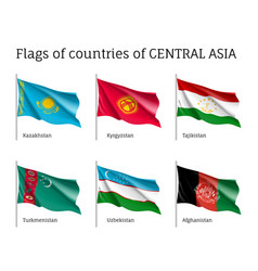 Set of flags of central asia on sticks vector