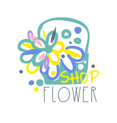 Shop flower logo template colorful hand drawn vector