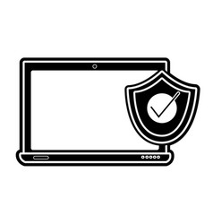 Silhouette screen laptop technology with shield vector