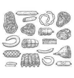 Sketch icons of meat products and sausages vector
